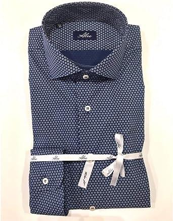 Alea Camisa de algodón ML Tailor Fit Microfantasia Turquesa 37: Amazon.es: Ropa y accesorios