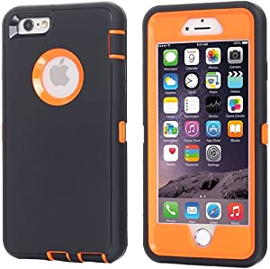 iPhone 6 Case, iPhone 6S Case [Heavy Duty] AICase Built-in Screen Protector Tough 3 in 1 Rugged Shockproof Cover for Apple iPhone 6/6S (Orange with Belt Clip)