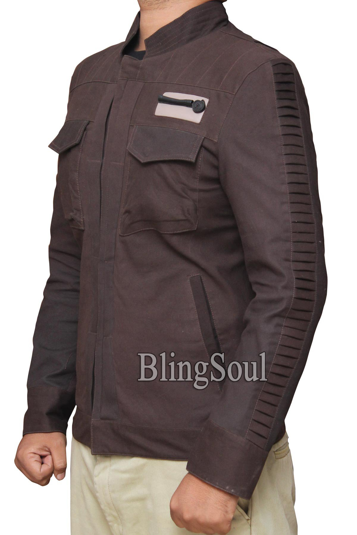 Star Wars Captain Cassian Andor Movie Jacket - Rogue One Diego Luna Brown Jacket Collection (L, Brown) by BlingSoul (Image #2)