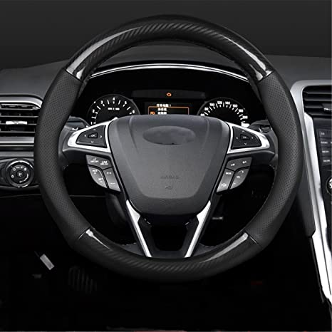 "YOUQI Genuine Leather Carbon Fiber Car Steering Wheel Covers Soft Anti-slip 15"" Inch"