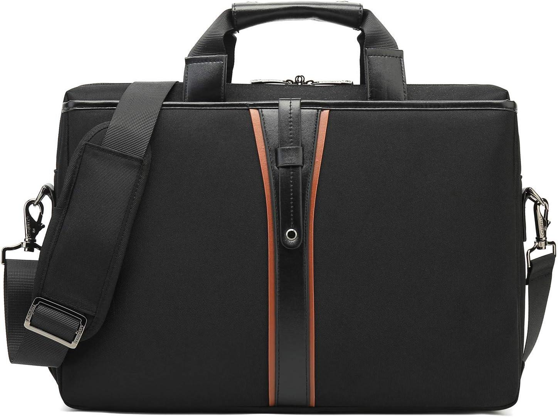 BRINCH Laptop Messenger Bag 15.6 Inch Water Resistant Computer Shoulder Bag Business Briefcase Large Carrying Handbag for Men/Office/Travel/College, Black