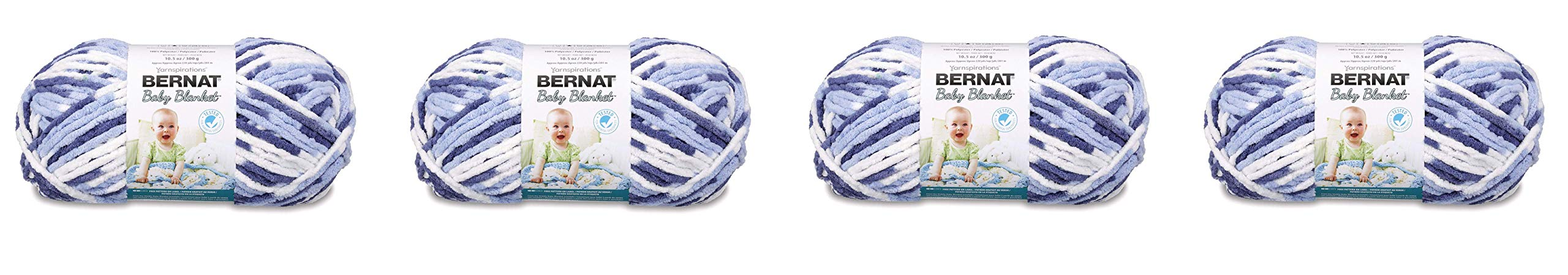 Bernat Baby Blanket Yarn - (6) Super Bulky Gauge - 10.5 oz - Blue Dreams - Single Ball Machine Wash & Dry (16110404134) (4-Pack)