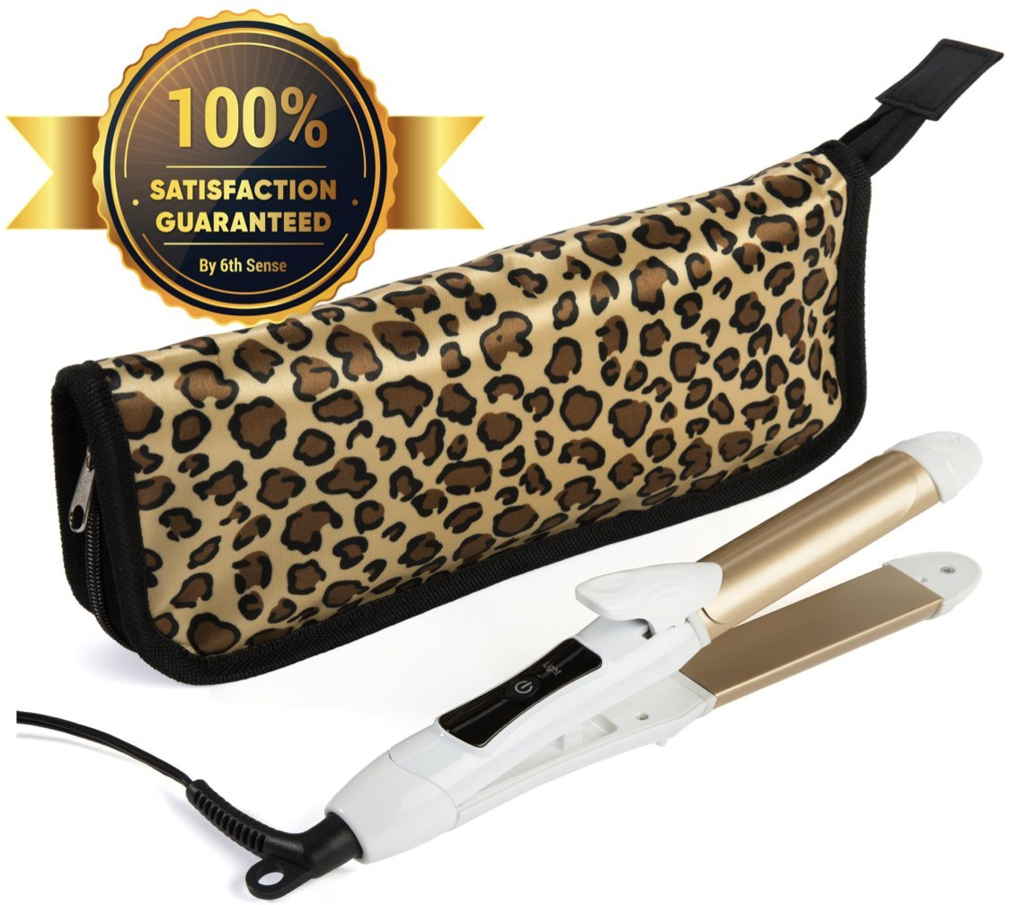 Travel Flat Iron 2-in-1 Mini Hair Straightener Curling Iron Dual Voltage 374 Degree Temperature Nano Titanium - Insulated Carry Bag Include