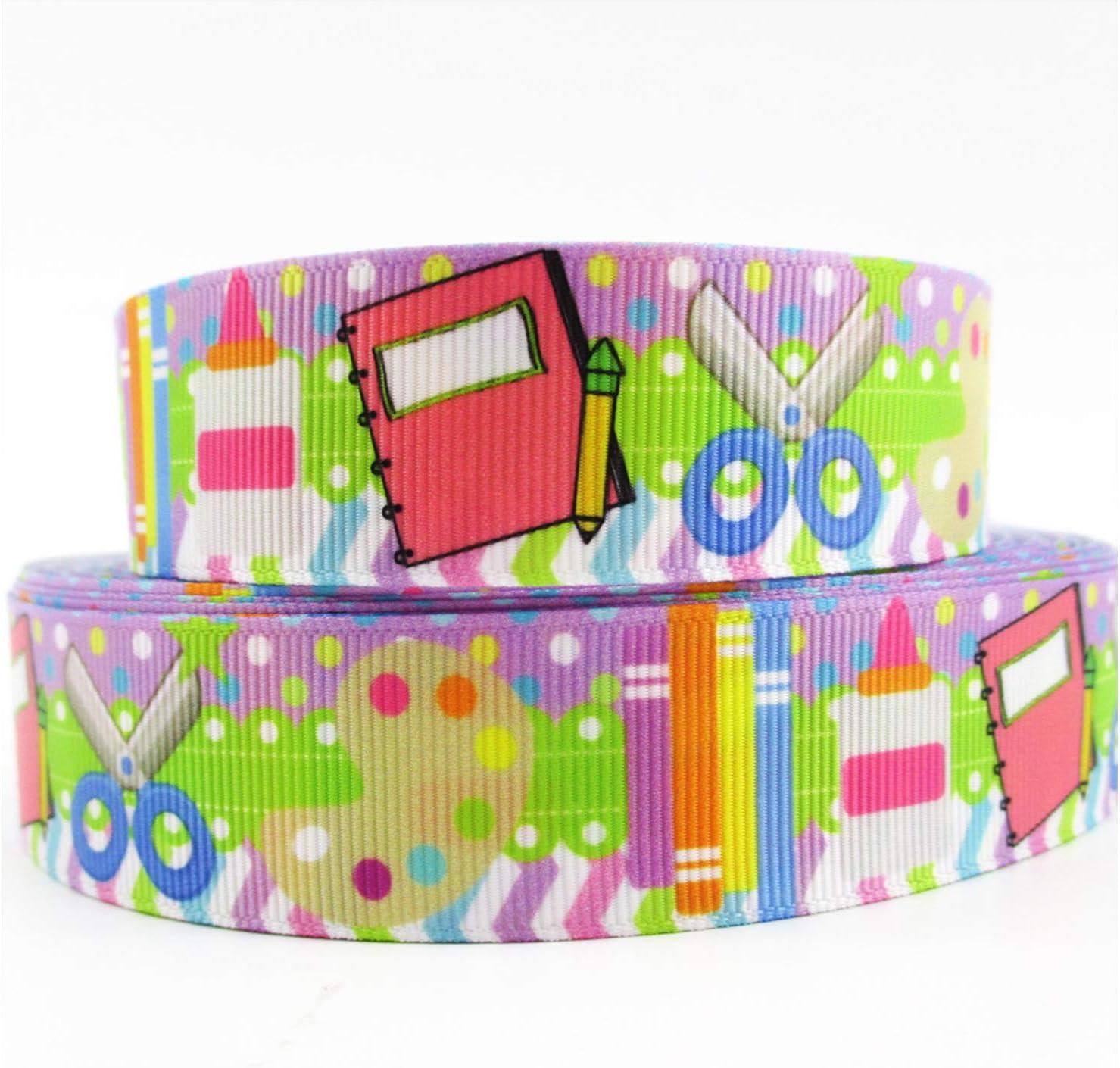 Back To School Ribbon Decorations - 10 Yard Long   Teacher Ribbon For Classroom   School Themed Ribbon Decor   School Grosgrain Ribbon   ABC Ribbon For Crafts   Back To School Decorations Supplies