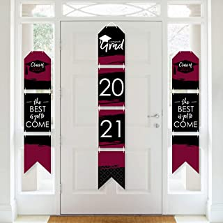 product image for Big Dot of Happiness Maroon Grad - Best is Yet to Come - Hanging Vertical Paper Door Banners - 2021 Burgundy Graduation Party Wall Decoration Kit - Indoor Door Decor