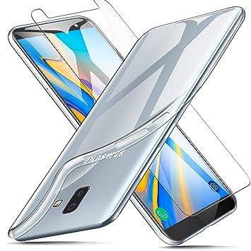 AROYI Funda + Protector de Pantalla para Samsung Galaxy J6 Plus, Transparente TPU Silicona Carcasa, Anti-Choques/Arañazos Flexible Case Cover para ...