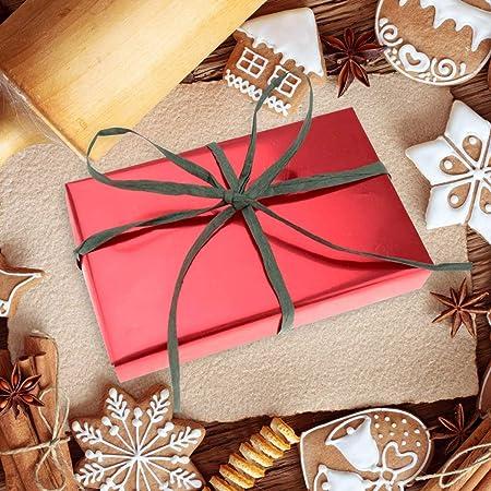 Vancool Raffia Ribbon String 3 Rolls 492 Feet Red Green Kraft 164 Feet Each Roll Packing Paper Twine for Christmas