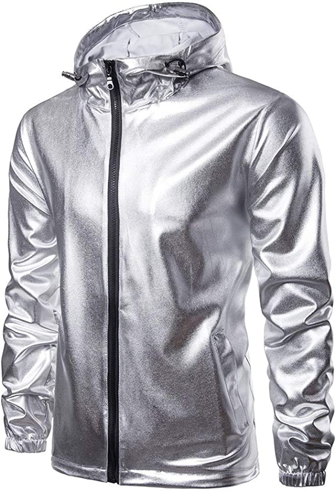 Cuekondy Mens Metallic Nightclub Jacket Long Sleeve Hoodie Solid Outwear Overcoat Hipster Shiny Slim Fit Zip Up Coat
