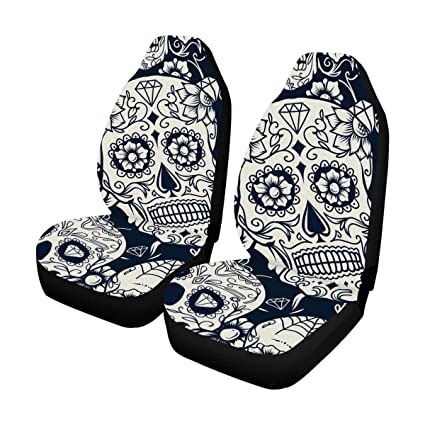 InterestPrint Day Of The Dead Sugar Skull With Floral Front Car Seat Covers Set 2