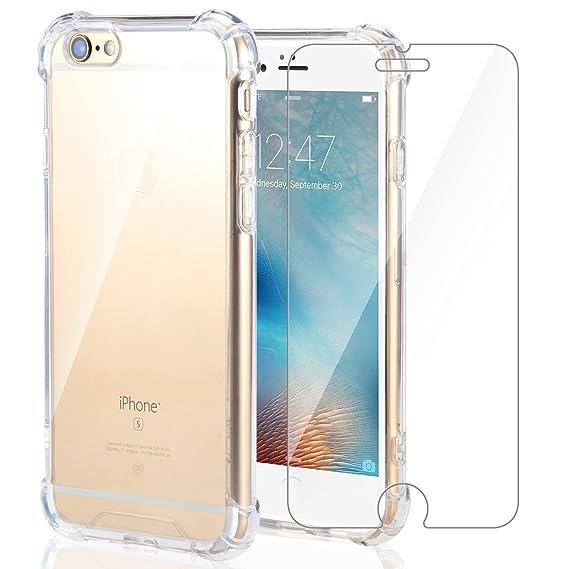 ae5b0f5edc4 Funda iPhone 6S/iPhone 6 + Cristal Protector de pantalla ,ivencase  Transparente TPU Silicona [Funda + ...