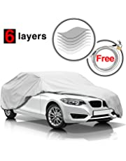 KAKIT 6 Layers Car Cover Waterproof All Weather For Automobiles, Windproof Dustproof Outdoor UV Protection Snow Padded Car Covers,Free Windproof Buckle & Anti-theft Lock, Fits Sedan up to 185 inch