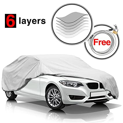 KAKIT 6 Layers Car Cover   Waterproof Windproof All Weather Snow Covers,  For Summer Outdoor