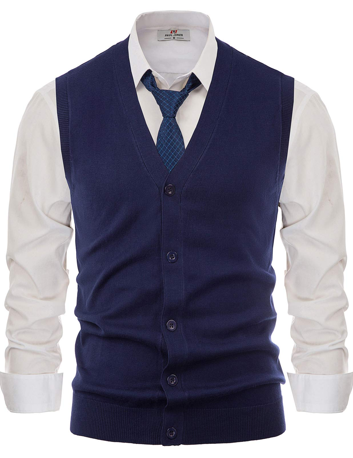 Stylish V-Neck Button Down Cardigan Sweater Vest for Men(Navy Blue,M) by PAUL JONES