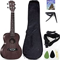 Tenor Ukelele Ukulele Solid Top Mahogany 26 Inch With Ukulele Accessories With Gig Bag,Strap,Nylon String, Guitar Trigger Capo,Picks