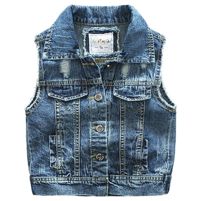 ec7e7c7b699 Amazon.com: Ian&Sophia Baby Boy's Toddler Kids Cool Ripped Denim Vest:  Clothing