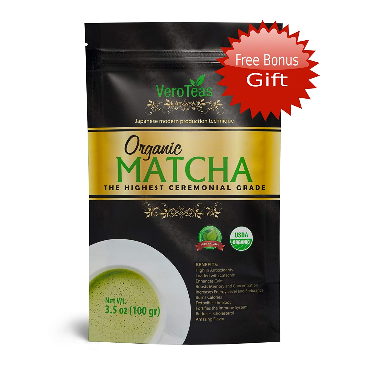 Organic Premium Ceremonial Japanese Matcha Green Tea Powder - First Harvest, Radiation Free, No Additives, Zero Sugar, Decaf – Kyoto, Japan – for Sipping – Latte Smoothie Baking – 100g (3.5 oz) Decaf – Kyoto Great Rise Company