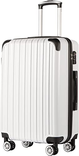 Coolife Luggage Expandable only 28 Suitcase PC ABS Spinner 20in 24in 28in Carry on white grid new