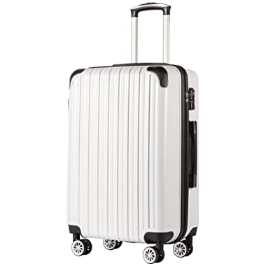 COOLIFE Luggage Expandable(only 28 ) Suitcase PC+ABS Spinner 20in 24in 28in Carry on (White Grid New, S(20in)_Carry on)