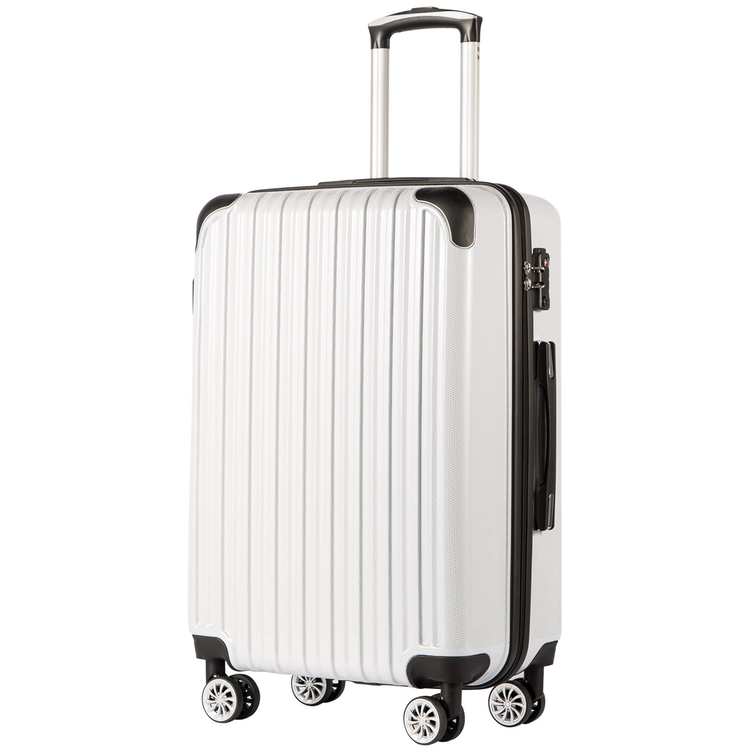COOLIFE Luggage Expandable(only 28'') Suitcase PC+ABS Spinner 20in 24in 28in Carry on (White Grid New, S(20in)_Carry on)
