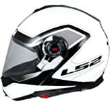 S.L LS2 386 Armory Flip up Helmet, Large (Gloss Black and White)