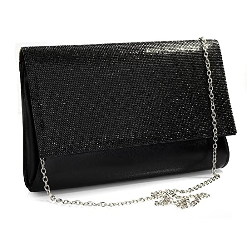 9092c9917b5ef black evening bag with shoulder strap. Women Bling Clutch Handbag Evening  Bag with