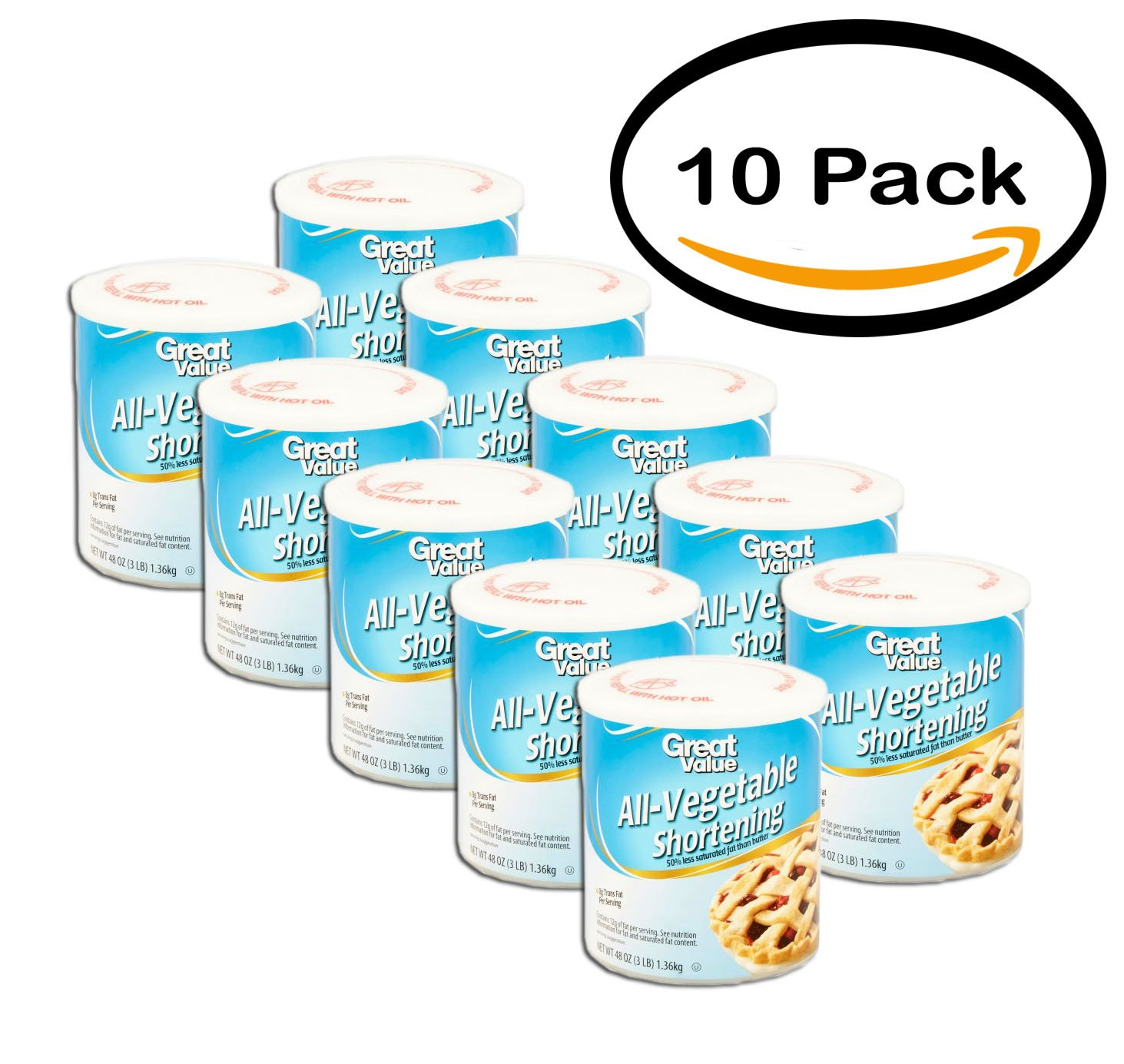 PACK OF 10 - Great Value: All-Vegetable Shortening, 48 Oz
