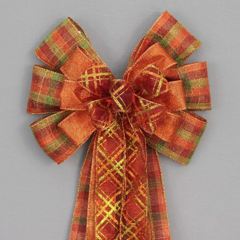 Fall Plaid Metallic Rustic Wreath Bow - available in 2 sizes