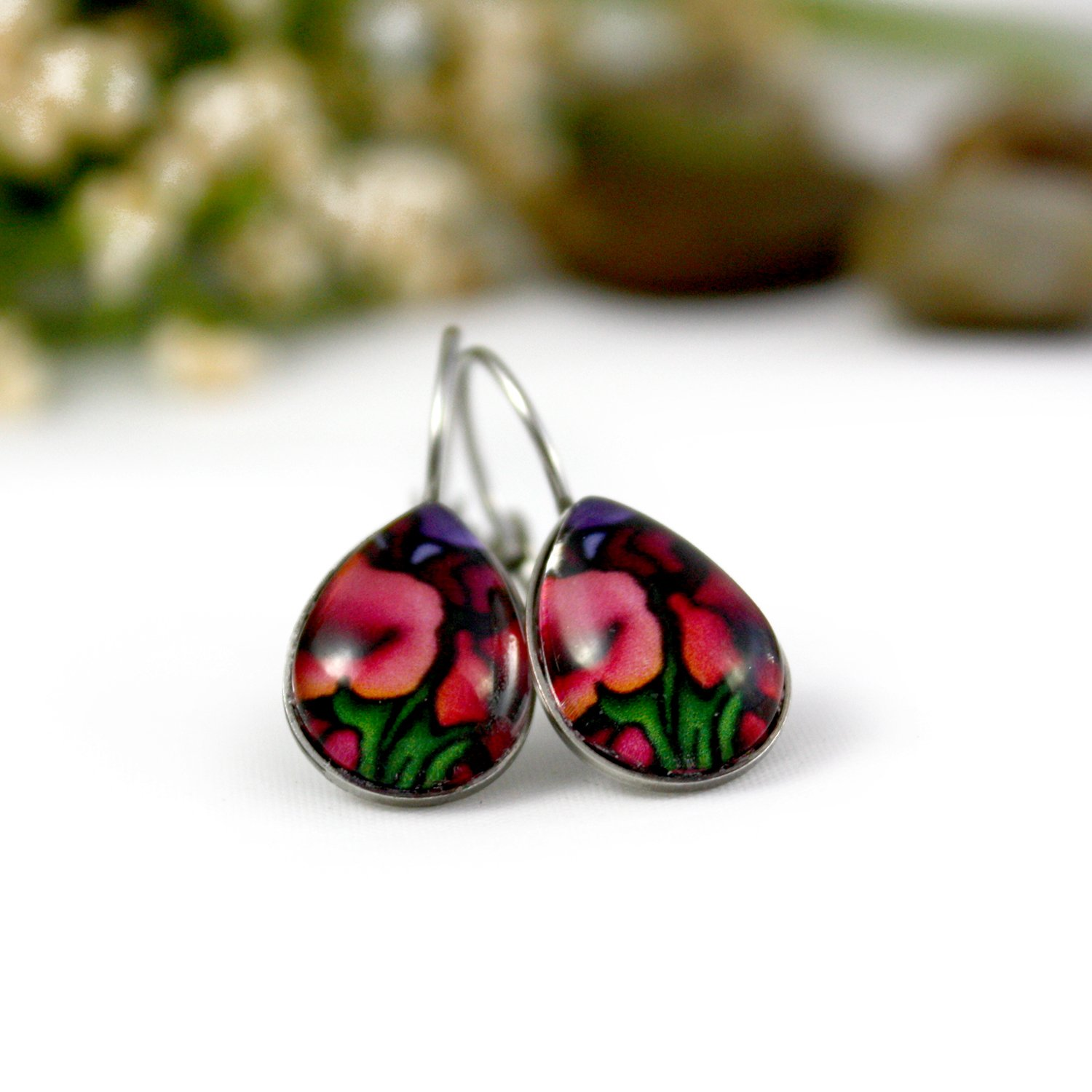 Small Red Gladiolus Flower Glass Teardrop Earrings