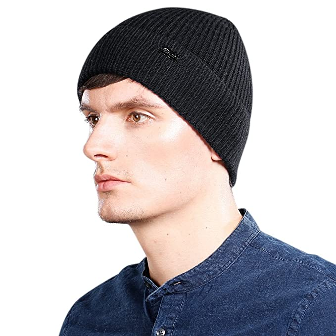af82e4047b4e2 Amazon.com  Men Wool Beanie Skull Caps Cashmere Knit Hat Autumn Winter   Clothing