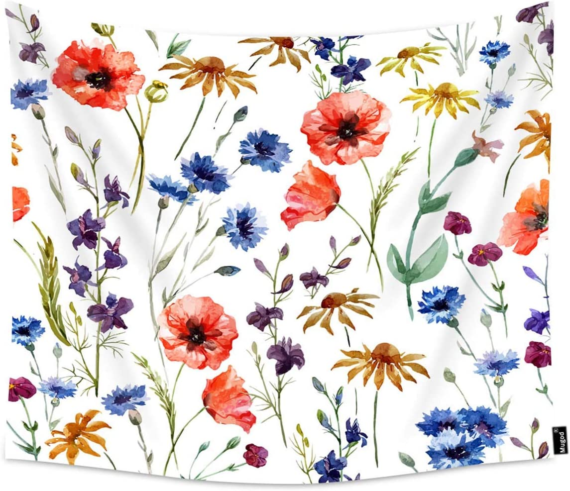 Mugod Wildflowers Tapestry Colorful Watercolor Flowers Poppy Cornflower and Chamomile Home Decor Tapestry Wall Hanging for Bedroom Living Room Dorm, 90WX60H Inches