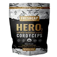 Hero - Cordyceps Mushroom Extract Powder - Organic Cordyceps Militaris - Supplement - Energy and Endurance -Real Fruiting Body No Fillers (60 Gram)