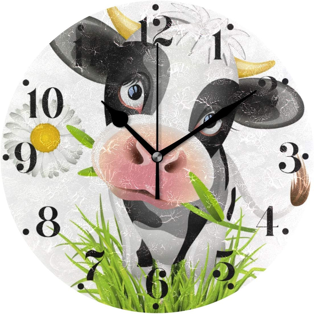 Hupery Cute Holstein Cow Wall Clock Silent Non Ticking Round Wall Hanging Clock Battery Operated Black Hands Decorative Wall Clocks for Bedroom Living Room Kitchen Office School