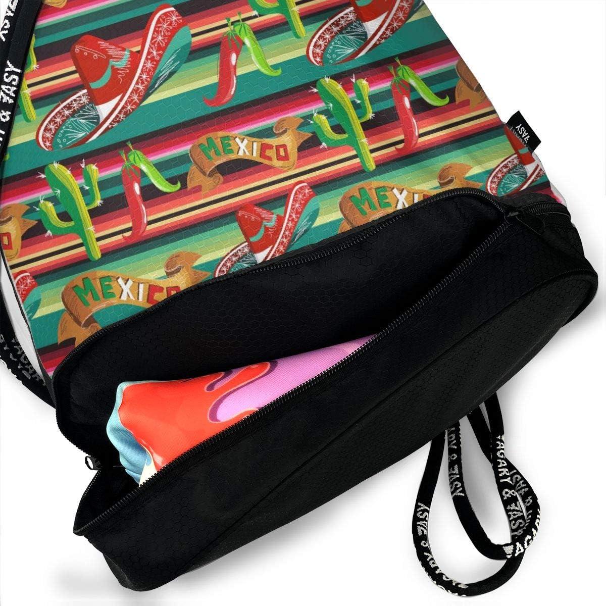 Lightweight Waterproof Large Storage Drawstring Bag For Men /& Women Mexico FIgure Cinch Backpack Sackpack Tote Sack