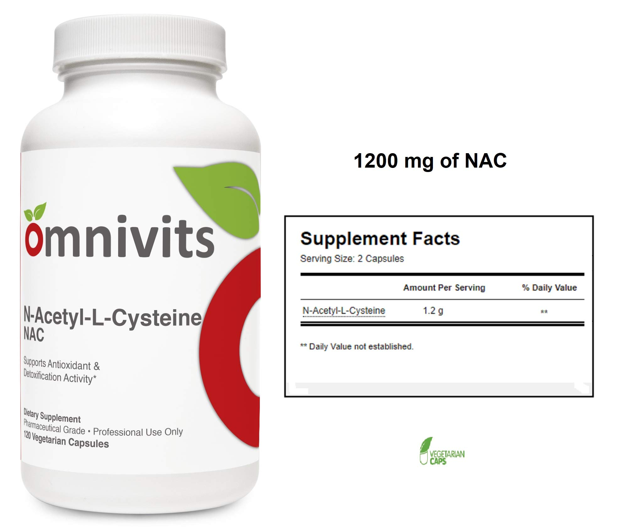 Omnivits N-Acetyl-L-Cysteine 1200mg | NAC Supplement | Supports Antioxidant & Detoxification Activity* | 120 Vegetarian Capsules