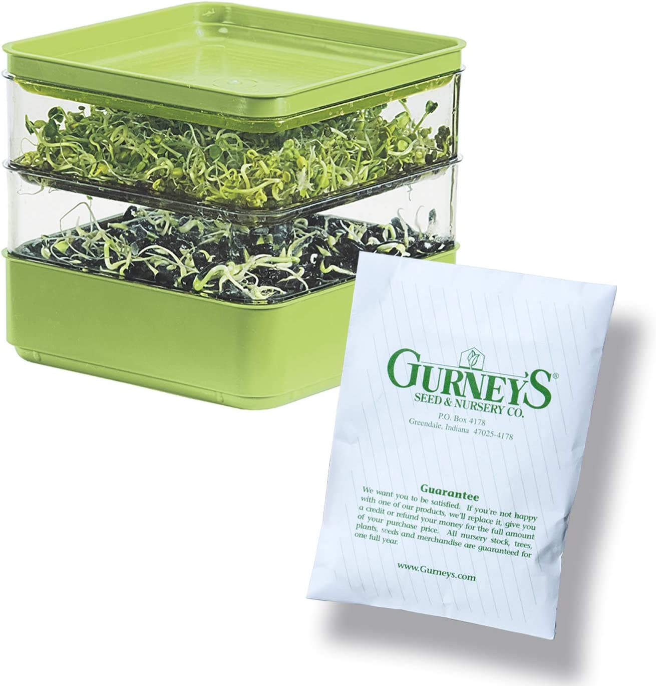 Gardens Alive! Two-Tiered Seed Sprouter with Seeds Kit - Ideal Gift for The Indoor Sprout Growing Enthusiast or Someone who Loves Homemade Healthy Snacks!