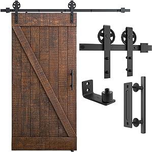 """SMARTSTANDARD 6.6ft Heavy Duty Sliding Barn Door Hardware Kit, Black, (Whole Set Includes 1x Pull Handle Set & 1x Floor Guide) Fit 36""""-40"""" Wide Door Panel (Big Industrial Wheel Hangers)"""