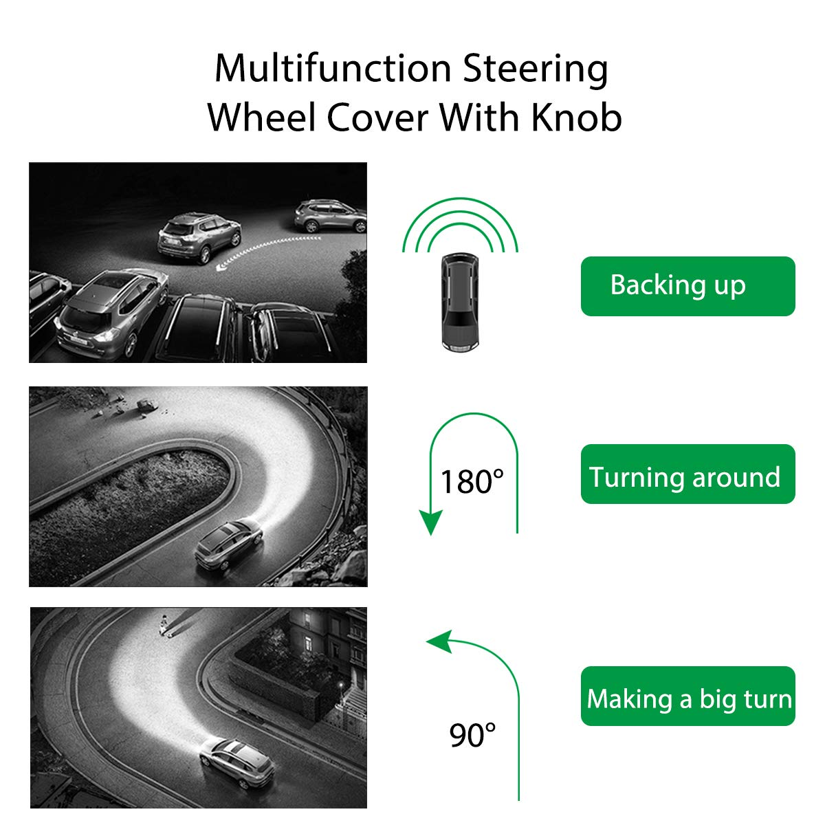 Odorless Cover with Decrease Stress Buttons for Vehicle Car Truck SUV Waterproof TecTri Steering Wheel Cover with Spinner Anti-Slip Universal Car Steering Wheel Suicide Spinner Handle Knob