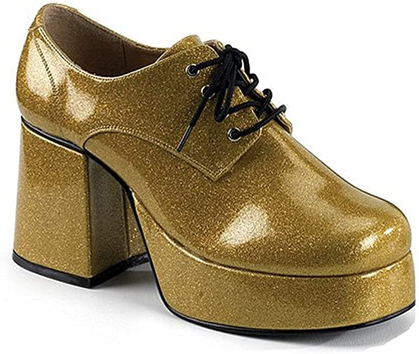 Disco Platform Gold Pimp Costume Shoes