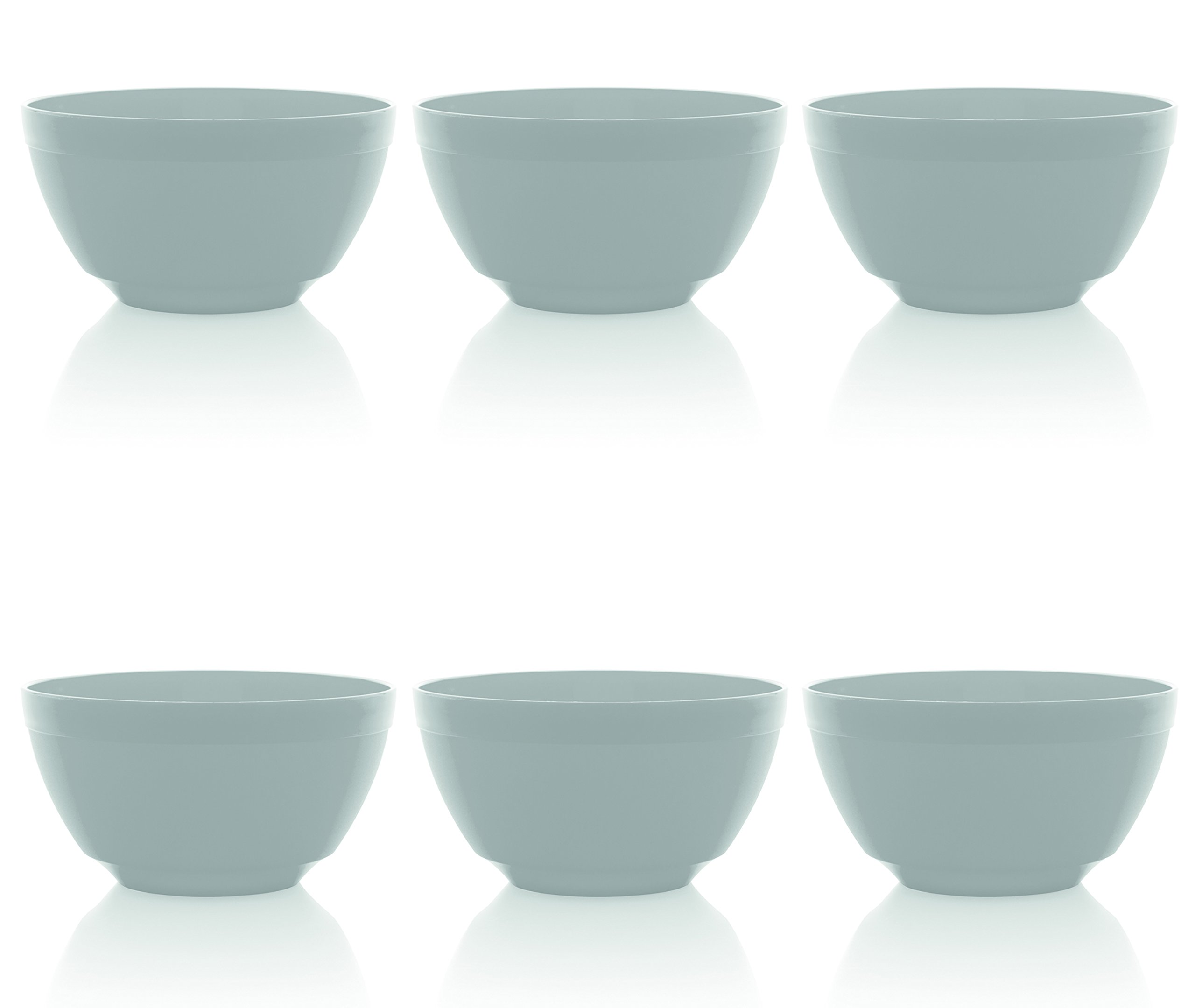 Ou Premium Design- Unbreakable Luna Bowls, Set of 6 (17 oz, White)