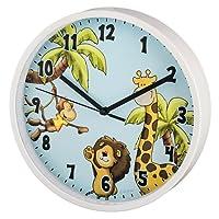 """Hama Kinder Wanduhr ohne Ticken """"Safari"""" (analoge Uhr, großes Ziffernblatt mit Ø 22,5 cm, geräuscharm, mit Tier-Motiv, z.B. für's Kinderzimmer) Kinderwanduhr hell-blau"""