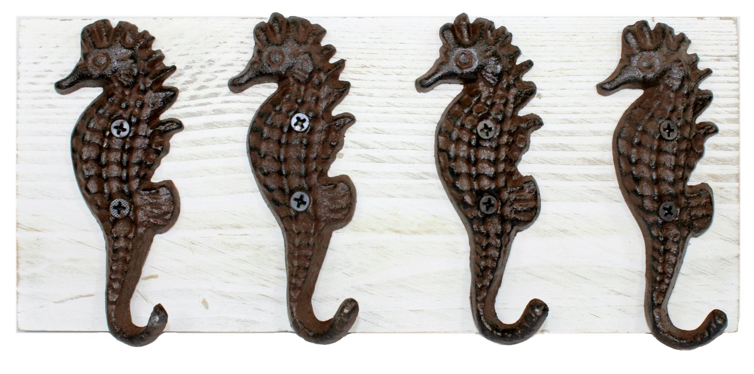 mds Seahorse Hooks Mounted on Painted Wood Wall Plaque 12 Inch