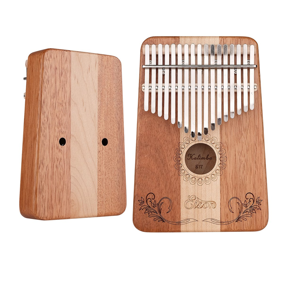 Kalimba,Eison Kalimba Thumb Piano Finger Piano 17 keys with Key Locking System with Instruction and Tune Hammer, Solid Wood Mahogany & Maple Body- Best Gift for Music Fans Kids Adults,E-17 by Eison (Image #4)