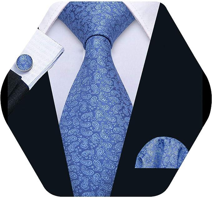 Barry.Wang - Corbata - para hombre Negro azul Talla única: Amazon ...