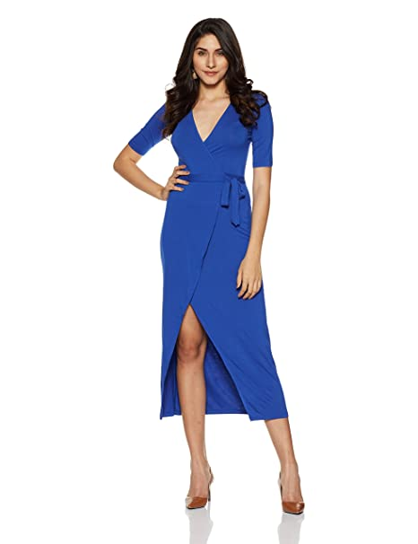 858ac3282446 Forever 21 Women s Wrap Maxi Dress  Amazon.in  Clothing   Accessories