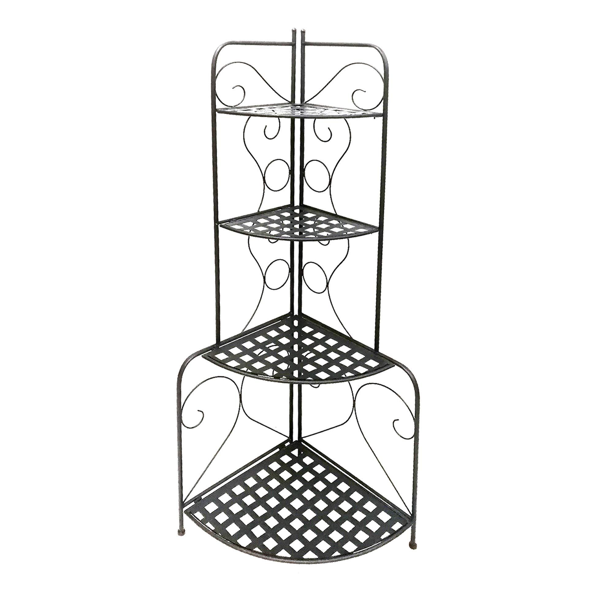 Benjara , Black Scrolled Accent Metal Foldable Corner Rack with Mesh Design Storage Shelves by Benjara
