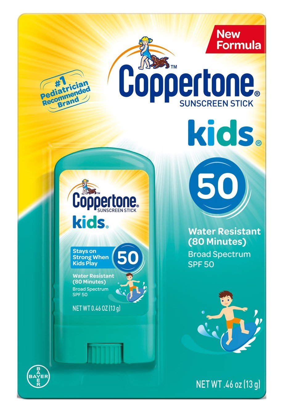 Coppertone Kids Sunscreen Stick Broad Spectrum SPF 50.46 Ounces Each (3) by Coppertone