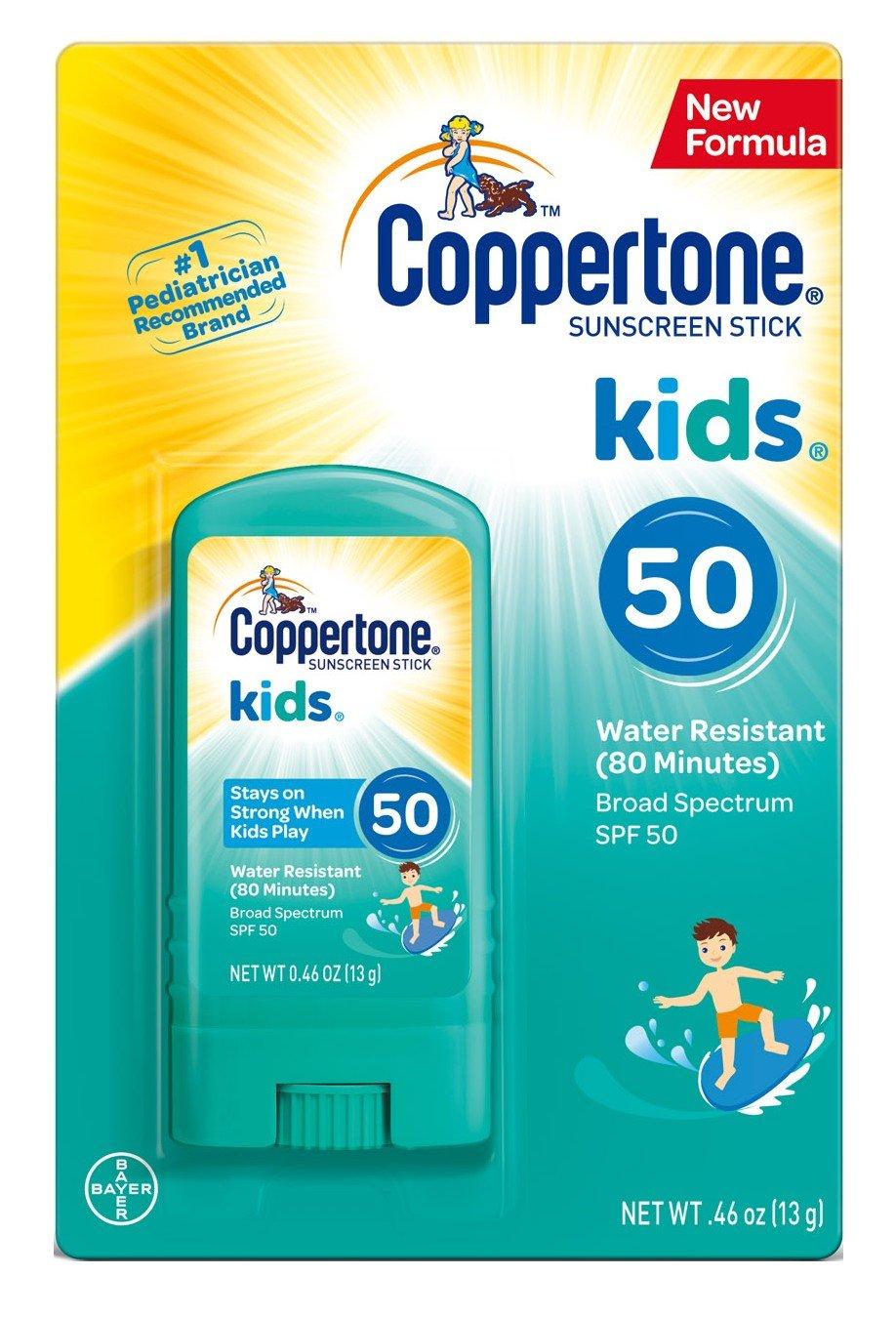 Coppertone Kids Sunscreen Stick Broad Spectrum SPF 50, .46 Ounces each (6)
