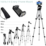 Alovexiong 110cm General Portable Camera Tripod Stand Holder Adjustable Rotatable Retractable Tripods + Smartphone Clip Holder Mount For iPhone 5 6S 7 8 9 Plus X Galaxy S6 S7 LG Video Cameras GoPro