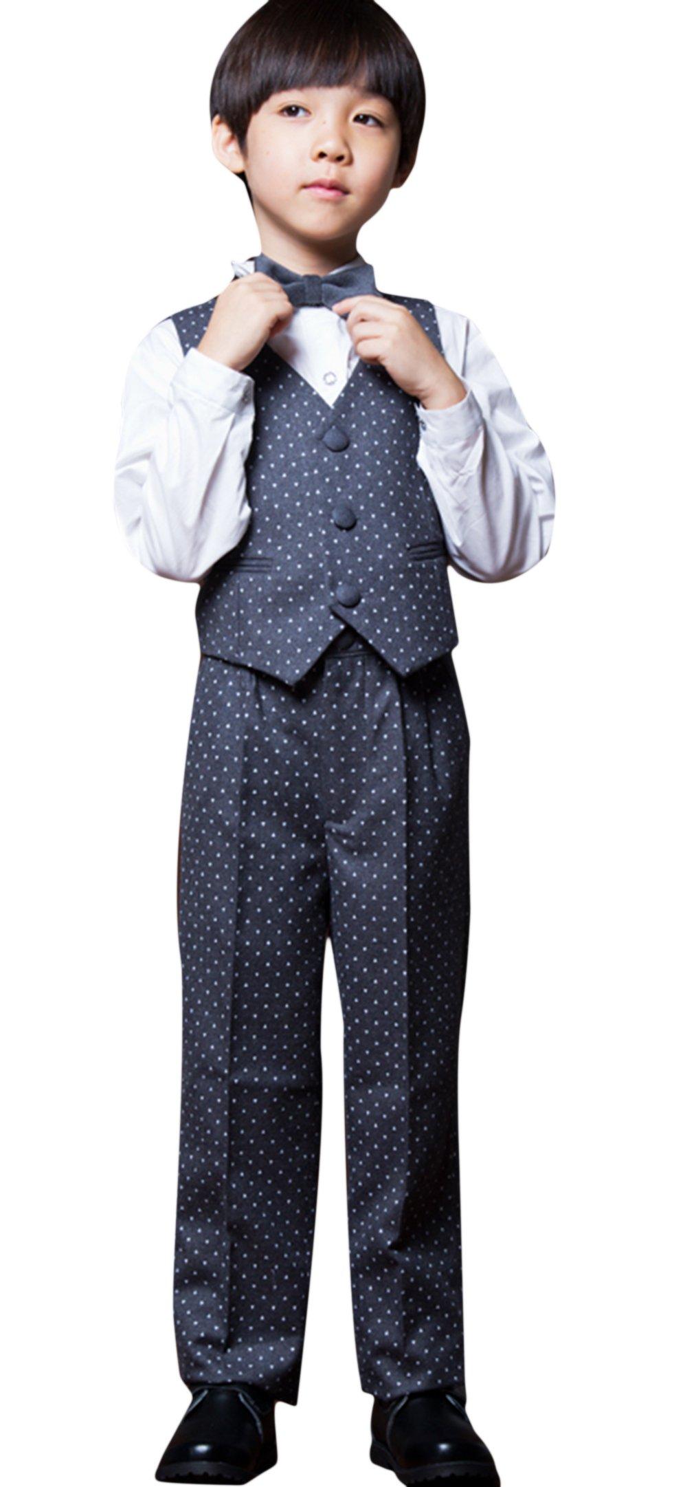 La Vogue Boys Formal 5 Piece Dress Suit Jacket Vest Shirt Pant and Bow S7 by La Vogue (Image #4)