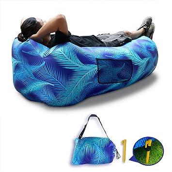 Inflable tumbona sofá sunkong inflable sofá con almohada hoja venation patrón hermética impermeable Lazy playa Aire sofá cama piscina flotador para ...